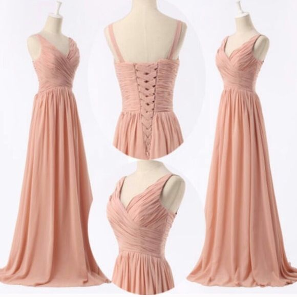 Light Pink Chiffon Prom Dress Gown Light pink, corset back, floor length with train, worn once to a military ball, could fit a size 8-12 Dresses Prom