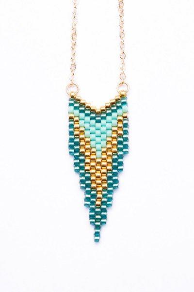 Création Artisitc Bracelet - Sautoir CLEO Turquoise et Or