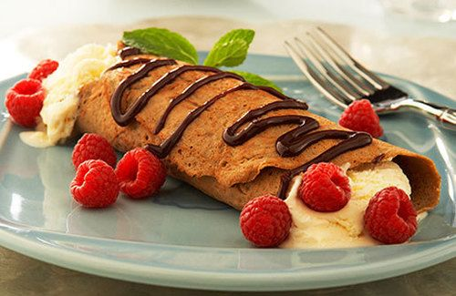 Dessert Crepe Recipe | Chocolate Yogurt & Raspberries