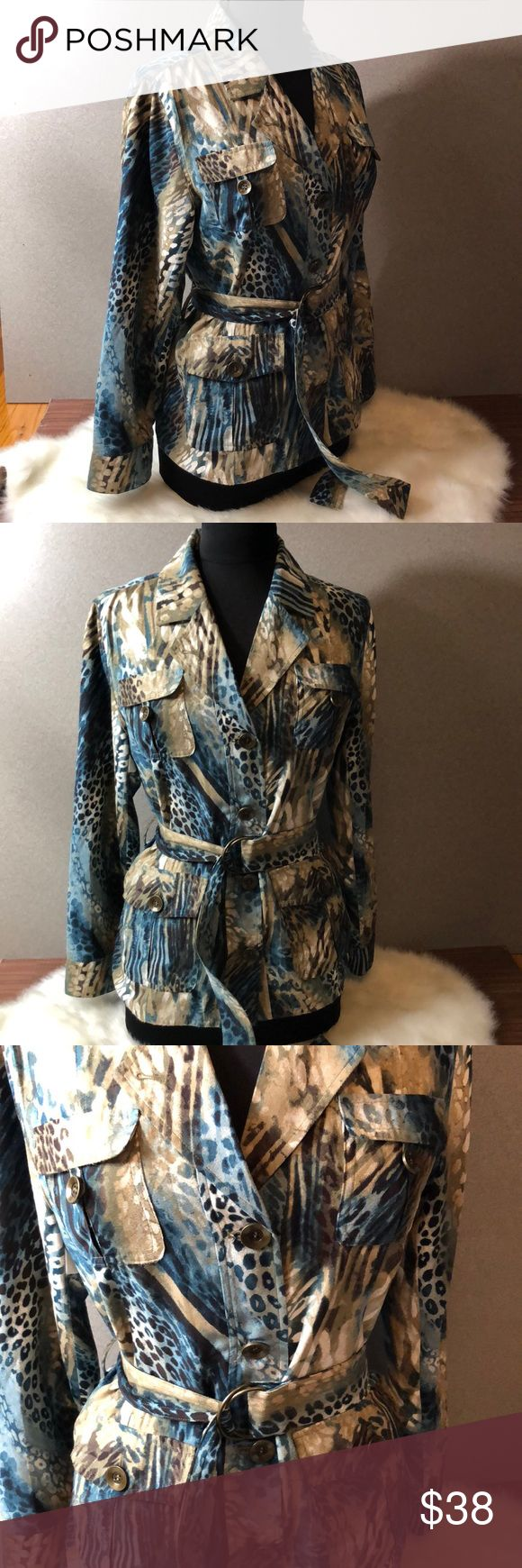 """CHICO'S Suede-like Animal Print Belted Jacket Excellent used condition. Suede-like textured unlined belted jacket with multi-color animal print by Chico's. RN 79984 100% polyester and machine washable.  Chico's size 1 = traditional US size 8 (see last photo from Chico's website)  Armpit to armpit 20""""  Length 26""""  No trades.  We are a smoke and pet-free home. Chico's Jackets & Coats"""
