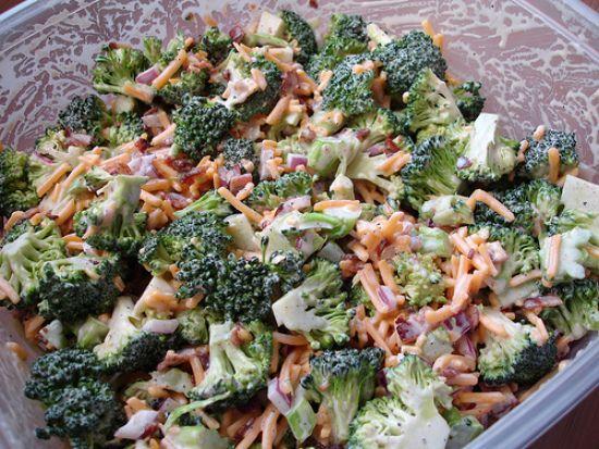 broccoli salad: Broccoli Salads, Food, Cheddar Cheese, Skinny Broccoli Salad, Green Olive, Favorite Recipes