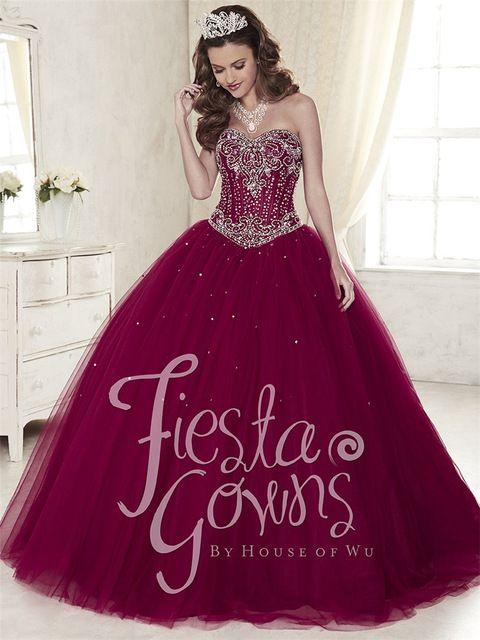 2016 Precioso Borgoña Vestidos de Quinceanera Vestidos vestido de Bola de Tulle Dulce 16 Vestidos de Quinceañera Con Cuentas Vestido De 15 Anos QA1058