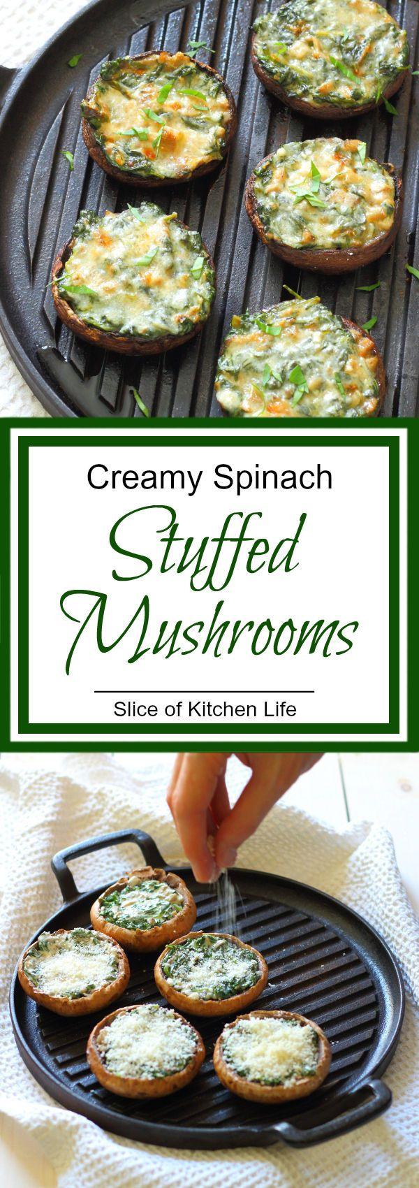 Creamy Spinach Stuffed Mushroom Recipe - Portobello mushrooms stuffed with…