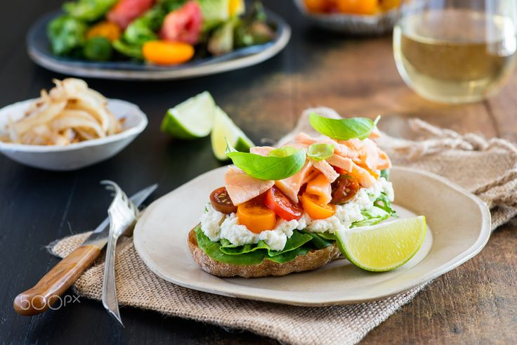 Sandwich with soft cheese, salmon and tomatoes - Sandwich with soft cheese…