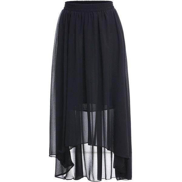 SheIn(sheinside) Black Elastic Waist Asymmetrical Chiffon Skirt (49 PEN) ❤ liked on Polyvore
