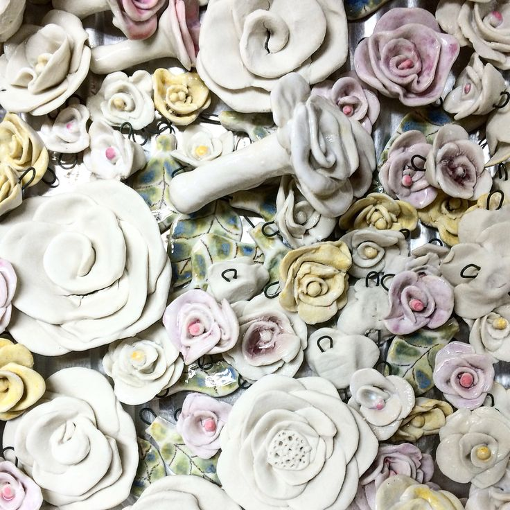 I must have flowers, always, and always. ~ Claude Monet  Handmade ceramic beads fresh out of the kiln.  MUDD.ca