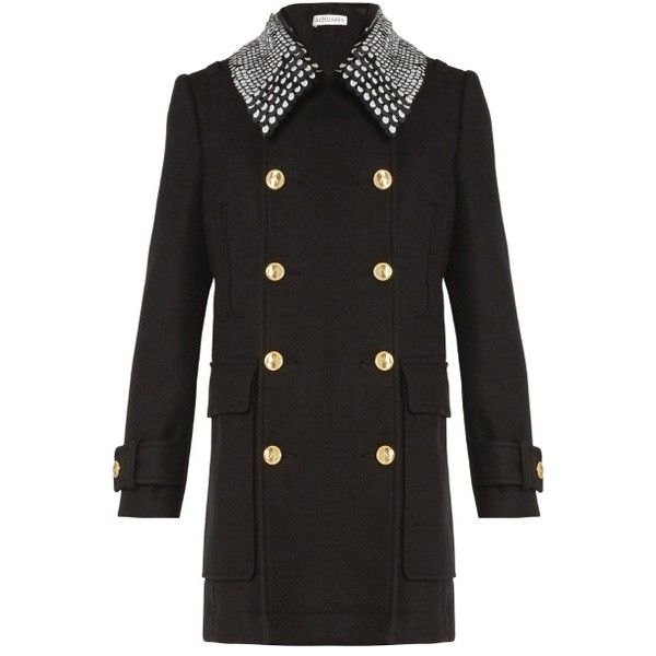 Altuzarra Charles detachable-collar double-breasted coat ($1,497) ❤ liked on Polyvore featuring outerwear, coats, sequin coat, military coat, button coat, military style coat and double breasted military coat