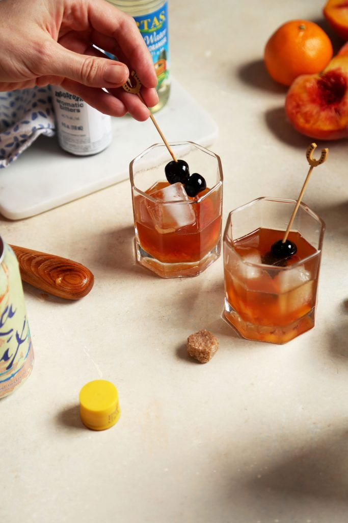 Peach and Orange Flower Old Fashioned | http://joythebaker.com/2016/08/peach-and-orange-flower-old-fashioneds/