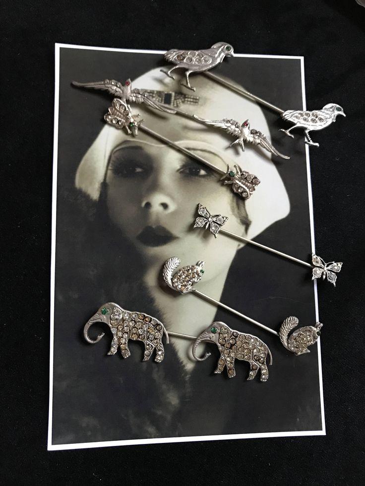 1920 France  Epingle à chapeaux Art Deco Antique Vintage Animaux - Miss Fisher - Années Folles Cadeau vintage