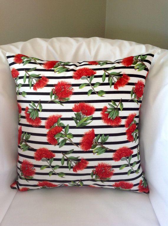 New Zealand cushion cover Pohutukawa flower by NewZealandNaturally