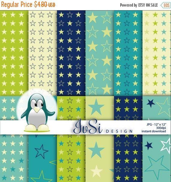 50% SALE Navy blue stars digital paper pack, green background, navy scrapbook, baby shower, scrapbook paper, green stars patterns by IvSiDesign on Etsy