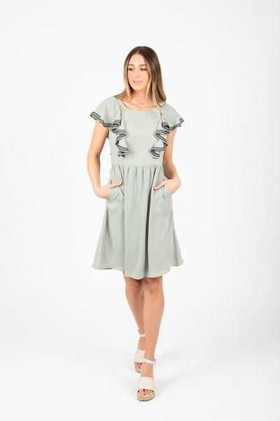 dd8fcfb9b4d6 The Megan Empire Trim Dress in Sage in 2019 | Things I must own ...