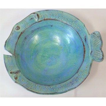 Fish Plate Aqua Black Terracotta 30cm