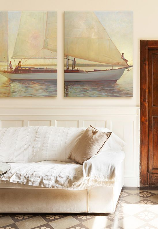Contemporary Living Room With Classic Sailboat Wall Art By Brent Lynch Via  @greatbigcanvas At GreatBIGCanvas