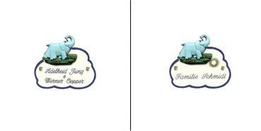 Namensschild Artelith Wolke Elefant in den Abmessungen 14x10cm.Der Wunschtext ist frei wählbar und wird per Lasertechnik eingraviert. Auf Wunsch kann man dieses Keramikschild mit einem hochwertigen Klingelknopf aus Messing bekommen,welcher dann bereits vormontiert ist.