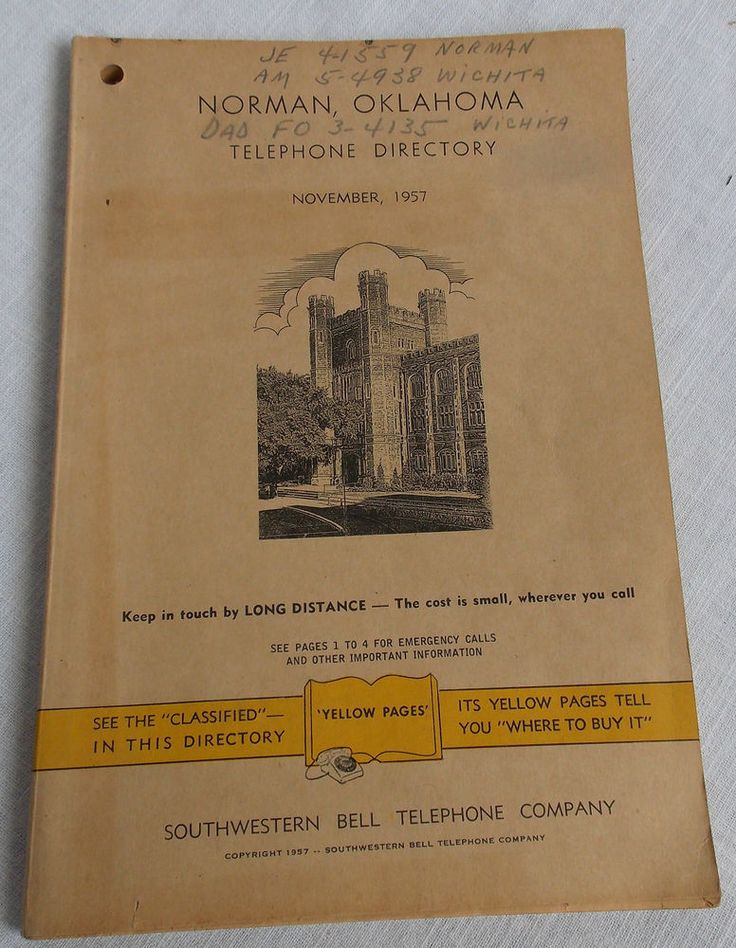 1957 Norman OK Telephone Directory Southwestern Bell Phone Book Vintage Ads