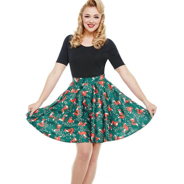 'Pepper' Green Fox Full Circle Skirt