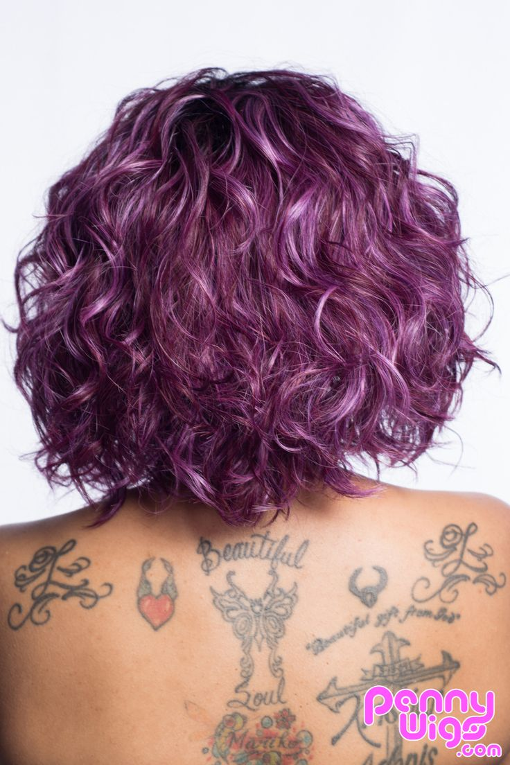 A beautiful wig with different strands of purple color this full wig is lightweight and perfect for both everyday wear or if you have something special planned. - Made from high heat-resistant kanekal