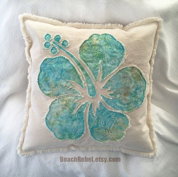 Hibiscus flower pillow cover in soft aqua and yellow by BeachRebel