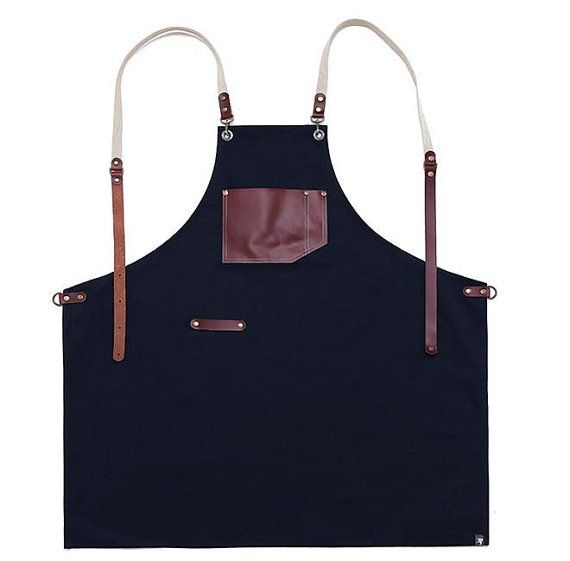 Premium Gift for woman and man Chef Works Handmade Apron Japanese Cross Back - Roco real cow leather Apron Navy