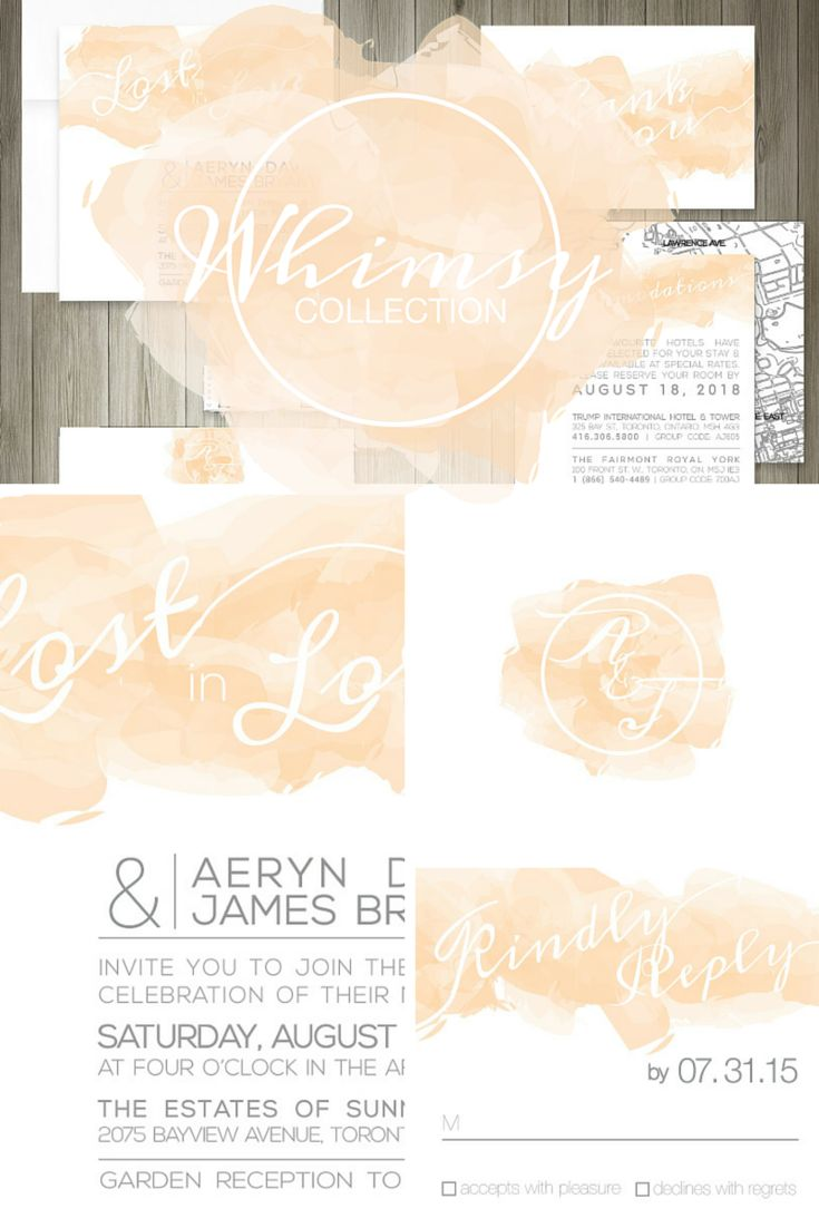 """Whimsy"" Invitation Suite, perfect for any wedding or event type, especially summer-related or outdoors celebrations. Featuring the on-trend watercolour design and simple & scripted font for a beautiful look that is easy to customize to coordinate with your chosen event theme. #celebrationsdesigned"
