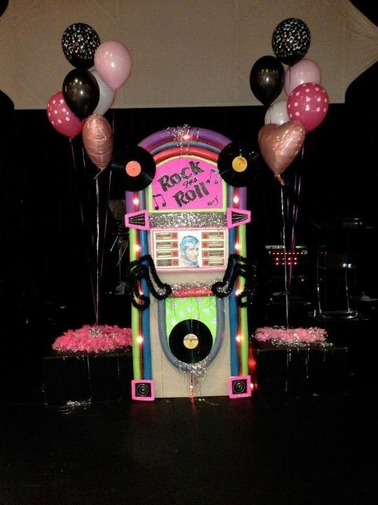 50's party jukebox I made using a cardboard box, pool noodles and lots if hot glue!