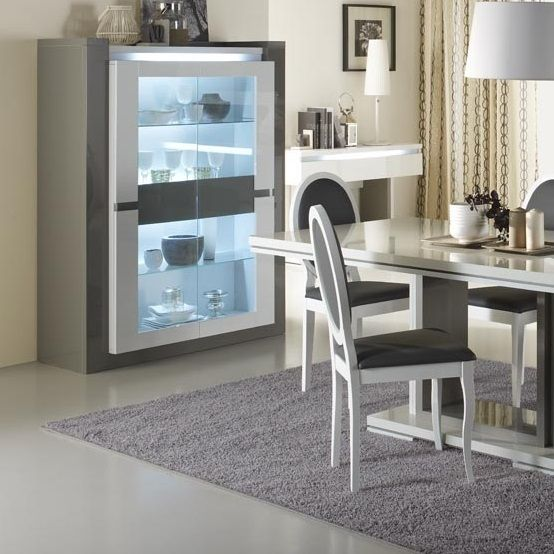 Renoir Display Cabinet In Taupe And Grey Gloss With Glass