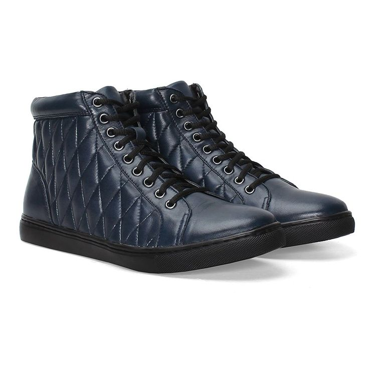 #Bareskin #Navy #Blue Genuine #Leather #Sneakers For Men