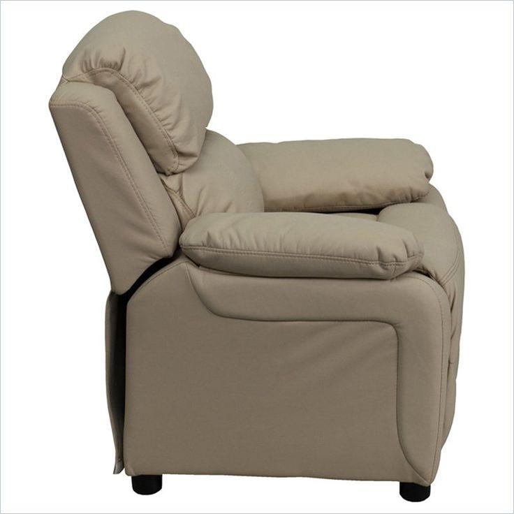 Flash Furniture Kids Recliner in Beige with Storage Arms - BT-7985-KID-BGE-GG