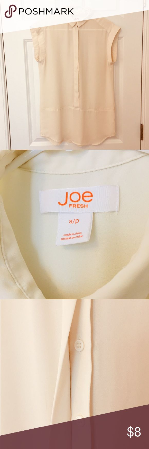 JOE FRESH BLOUSE Joe Fresh ivory sleeveless blouse with covered button front.  Great for layering under cardigans!  In very good condition. Joe Fresh Tops