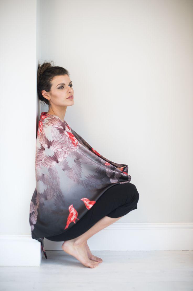 Design birdy pink silk scarf size 130cm x 130cm www alva norge