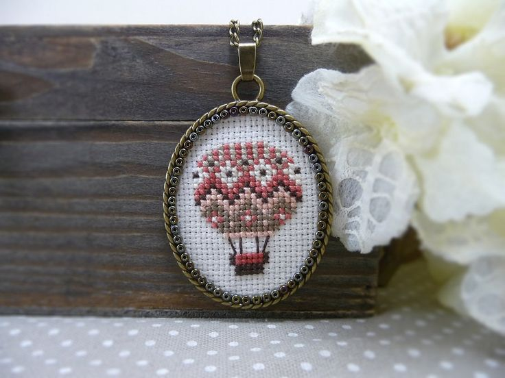Coral Pink Hot Air Balloon Cross Stitch Necklace by TriccotraShop