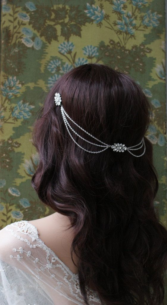 Draped bohemian Wedding Headpiece Crystal chain by AgnesHart
