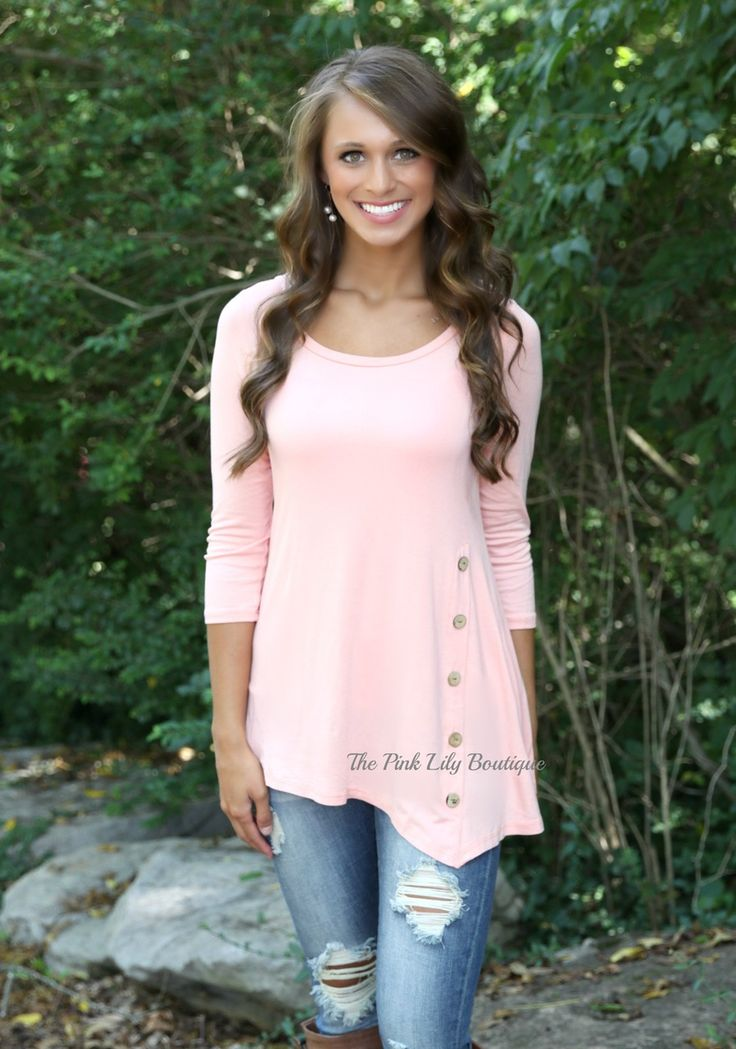 The Pink Lily Boutique - Peach Side Button Tunic , $34.00 (http://thepinklilyboutique.com/peach-side-button-tunic/)