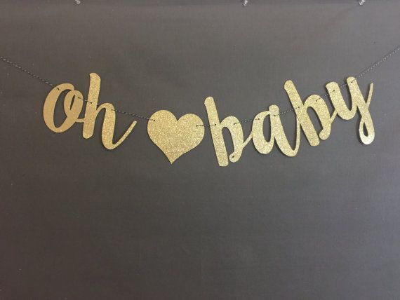 Oh Baby Banner, Baby Shower Banner, Black & Gold Baby Shower Decor, Gold Glitter, Modern Baby Shower, Pregnancy Banner, Baby Announcement