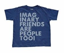 Funny Toddler Tee Imaginary Friends Are People Too Print on Navy Blue T shirt