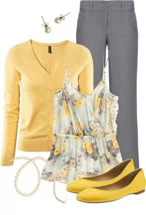 Yellow dress shirt grey pants