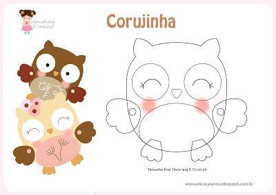 Novo Molde para feltro de Corujinha da Érica Catarina, do blog Ei Menina!