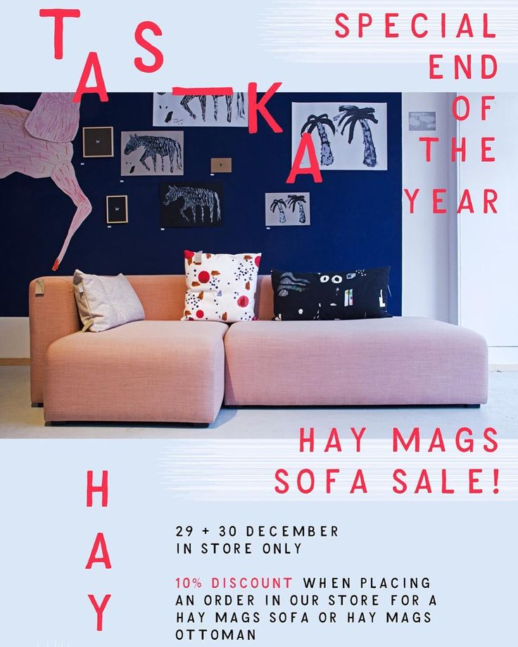 On December 29 + 30 we will have a Hay Mags sofa sale with a discount of 10% on your order. In store only! And as a special we will sell our pink display sofa for €1500,- in stead of €2064,-. Visit our store for more info! #haydk #haydesign #magssofa #sale #endoftheyear #taska #ontwerpburotaska #zeeheldenkwartier #designstore #thehague