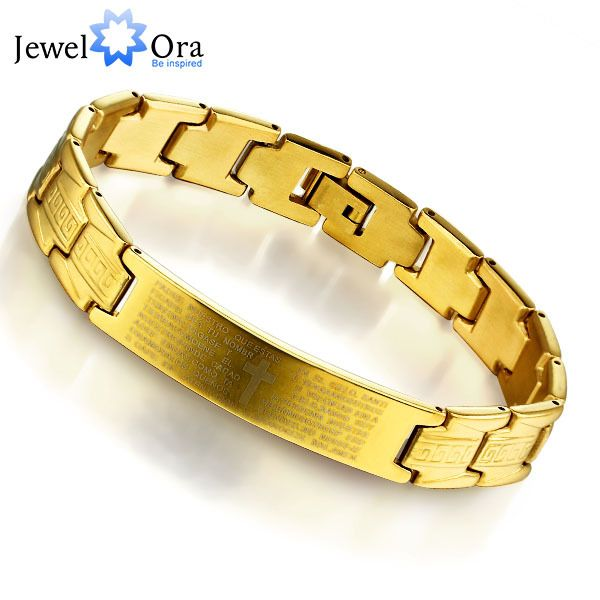 Fashion Steel Man's Golden Bracelet Charming 304L Stainless Steel with Gold Plated Bracelet for Man  (JewelOra BA101132)