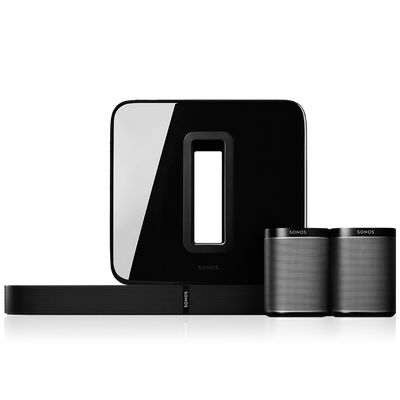 This special 5.1 wireless surround sound home theater audio package from Sonos includes the new PLAYBASE soundbase for TVs, a SUB for soul-shaking bass, and 2 PLAY:1s to use as a stereo pair of rear satellite speakers. See what they can do not only for your home theater, but for your digital music.