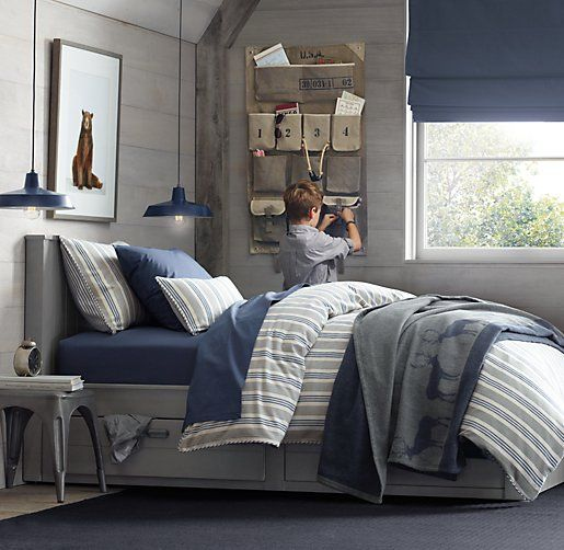 Teen S Bedroom With Feature Grey Wall And Monochrome Bed Linen: 583 Best Images About Boy's Room On Pinterest