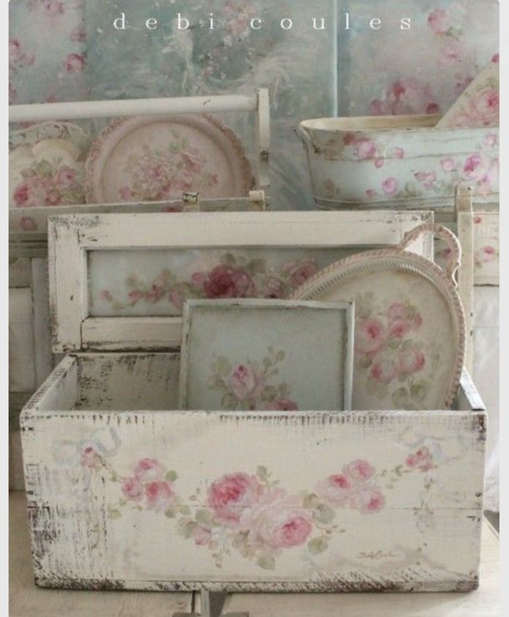 Silverplated items & wood box painted with roses. So shabby chic!
