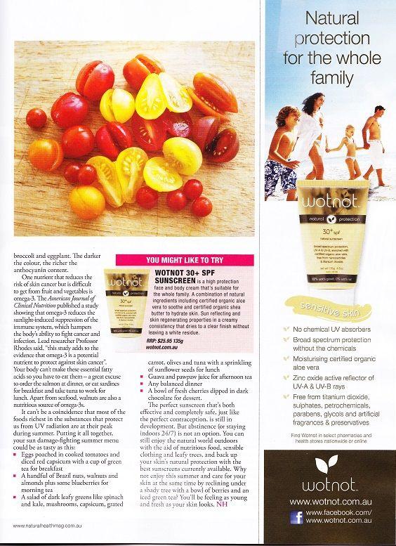 Australian Natural Health Magazine reccommends WOTNOT 30+ Sunscreen!