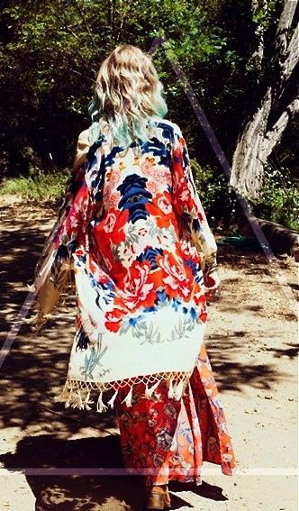 bohemian patterns. kimono. floral. boho fashion visit www.thebohemianinme.com for inspiration
