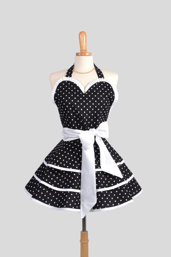 Retro Pinup Apron : Handmade Ruffled Black with White Dots. $50.00, via Etsy.