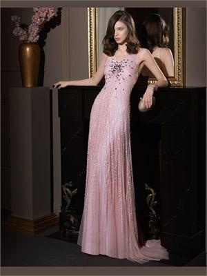 Column V-Neck Sequins Tulle 2014 Prom Dresses