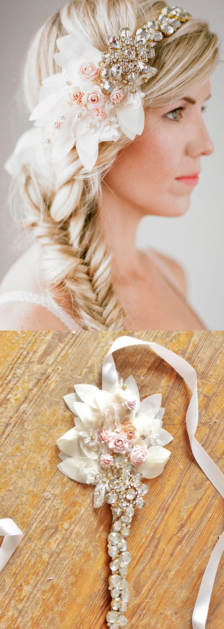 Floral Bridal Headpiece, Crystal Bridal Headband, Bridal Headpiece. This Bridal hairband is detailed with gold set rhinestones, rhinestones and tiny flowers in a romantic and whimsical asymmetrical pattern. Weddings Flowers Floral Headband Hairvine. Bride or Bridesmaids. #springwedding #winterwedding #bridemaids #bride #bridalhair #fashion #affiliatelink #bridalwear #weddinghair #roaring20s #fairytalewedding #whimsicalwedding