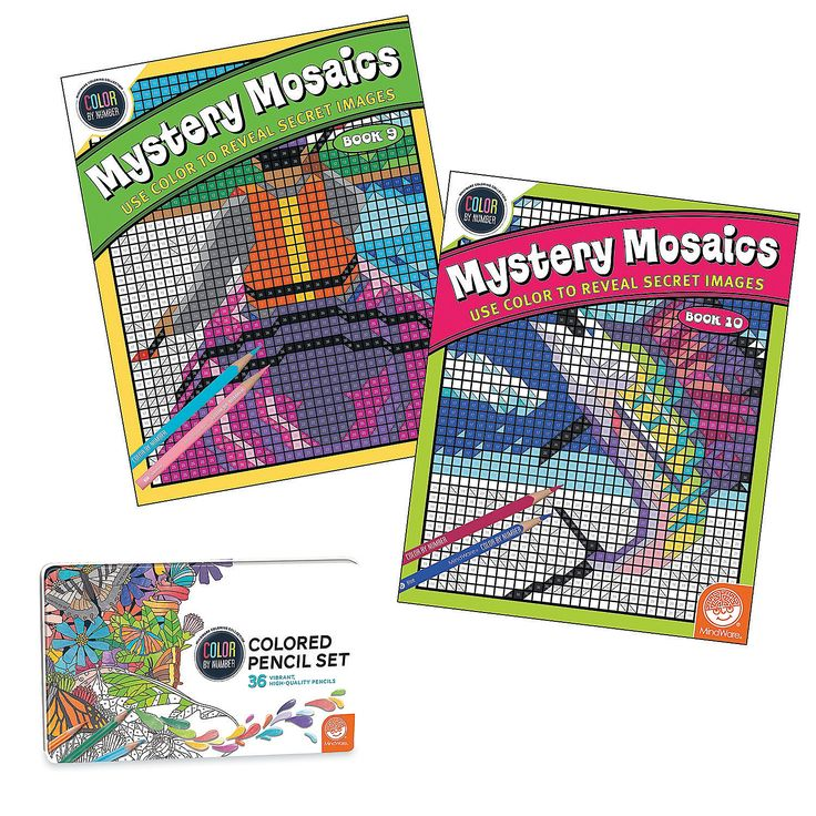 Color By Number Mystery Mosaics Set MindWare Mosaic