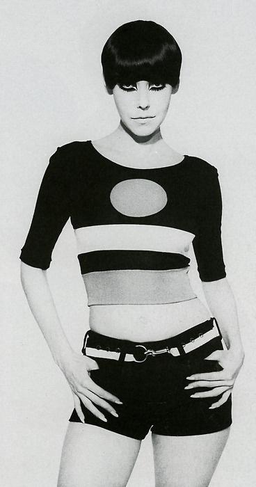 1964. Model Peggy Moffitt in Rudy Gernreich cut-out bathing suit. Photo by husband William Claxton (B1927-D2008)